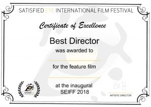 SEIFF certificate for Best Director 2018