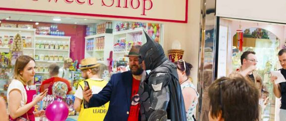 Batman outside Hatty's Sweet Shop